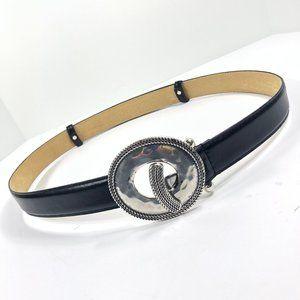 Adjustable Belt Silver Buckle Black Leather XL